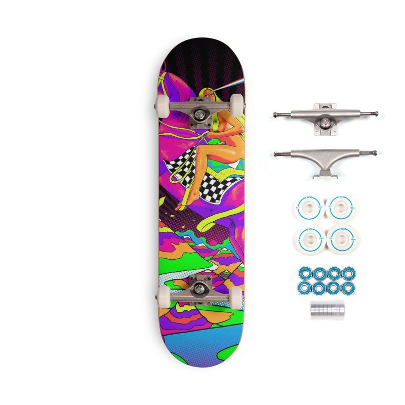 Lady Godiva - Neon Night Accessories Complete - Basic Skateboard by RJ Artworks's Artist Shop