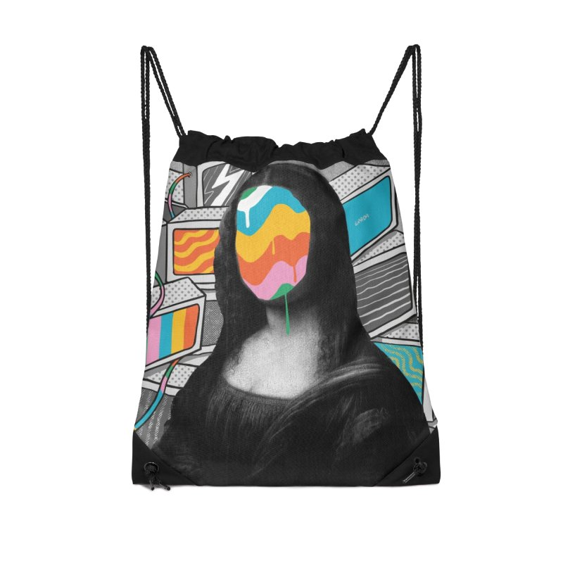 Mona Lisa Meltdown Accessories Drawstring Bag Bag by RJ Artworks's Artist Shop