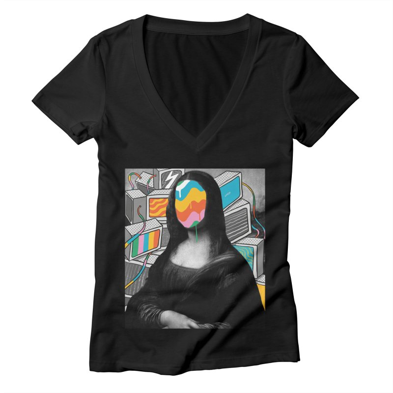 Mona Lisa Meltdown Women's Deep V-Neck V-Neck by RJ Artworks's Artist Shop