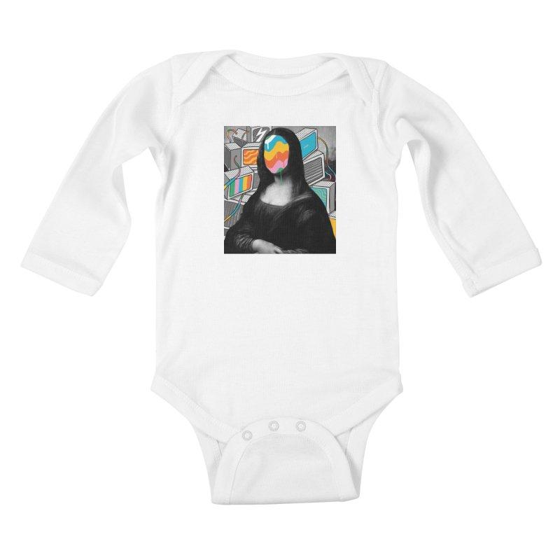 Mona Lisa Meltdown Kids Baby Longsleeve Bodysuit by RJ Artworks's Artist Shop