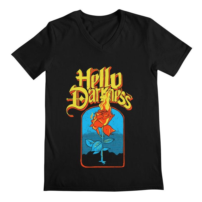 Hello Darkness - Flaming Rose Men's V-Neck by RJ Artworks's Artist Shop
