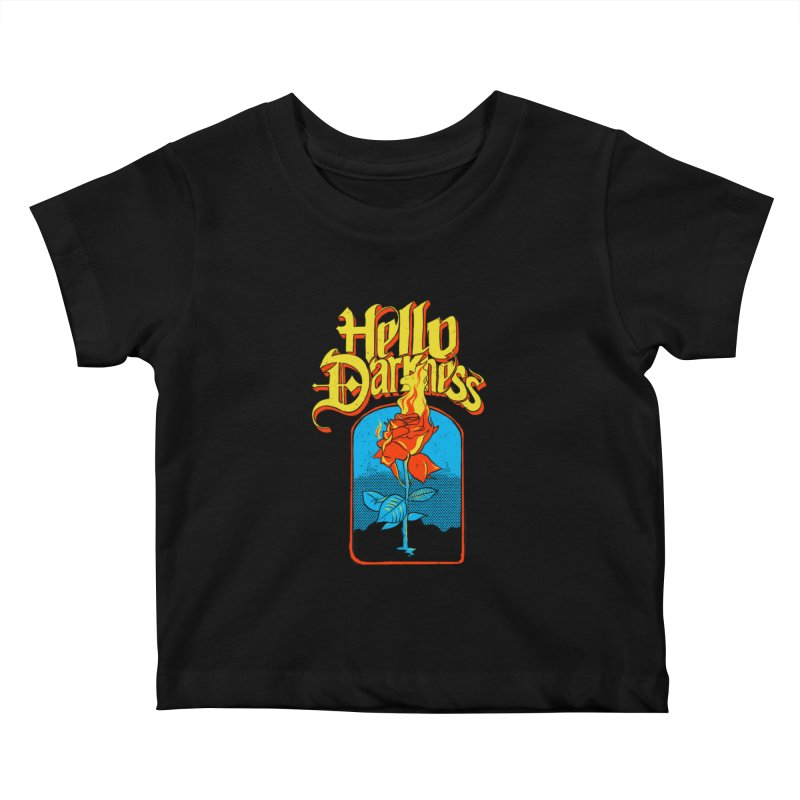 Hello Darkness - Flaming Rose Kids Baby T-Shirt by RJ Artworks's Artist Shop