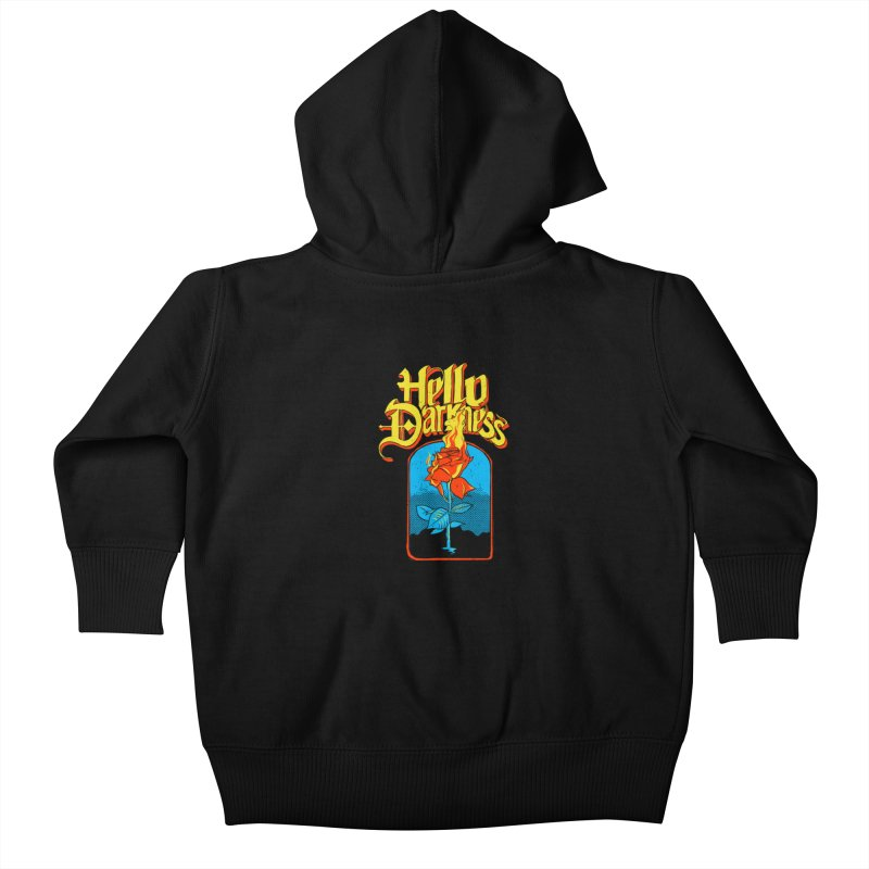Hello Darkness - Flaming Rose Kids Baby Zip-Up Hoody by RJ Artworks's Artist Shop