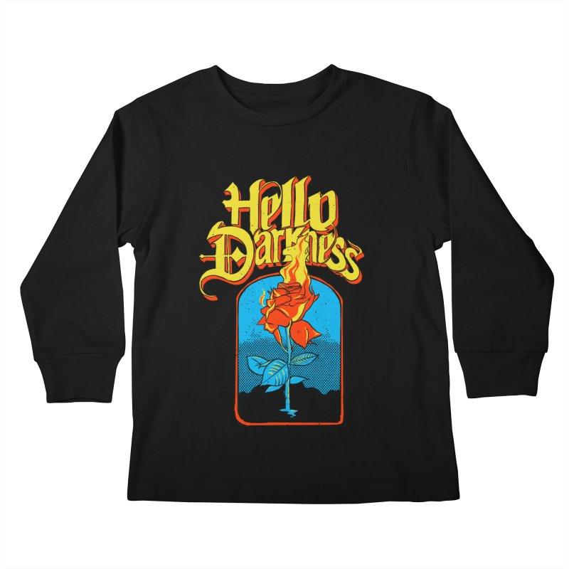 Hello Darkness - Flaming Rose Kids Longsleeve T-Shirt by RJ Artworks's Artist Shop