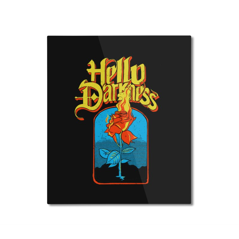 Hello Darkness - Flaming Rose Home Mounted Aluminum Print by RJ Artworks's Artist Shop