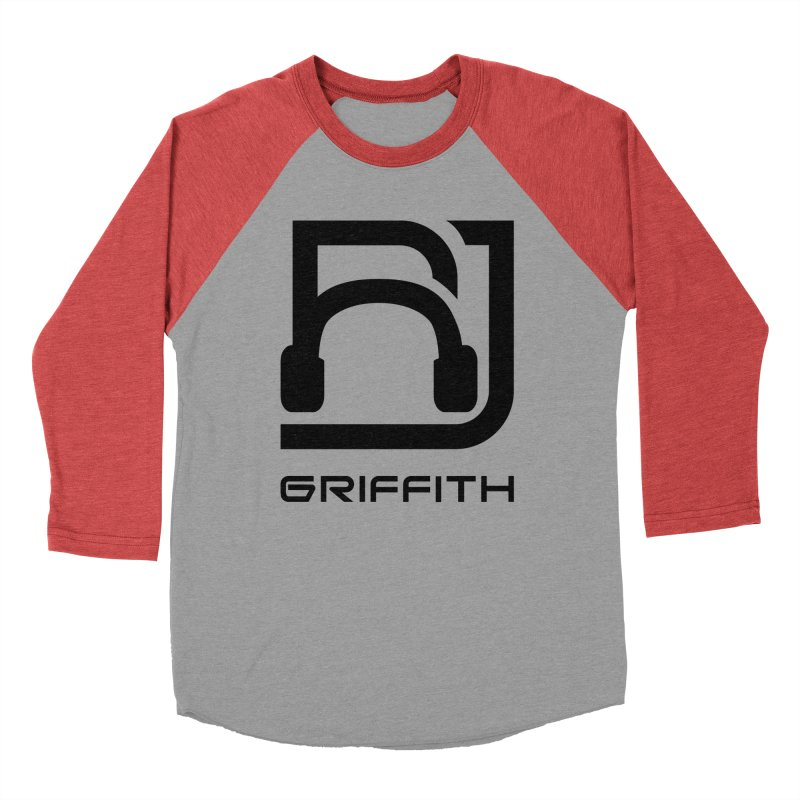 RJ Logo (Black) in Men's Baseball Triblend Longsleeve T-Shirt Chili Red Sleeves by RJ Griffith's Merch Store