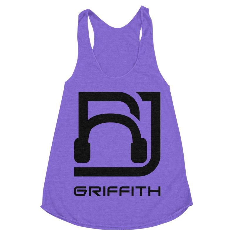 RJ Logo (Black) in Women's Racerback Triblend Tank Tri-Orchid by RJ Griffith's Merch Store