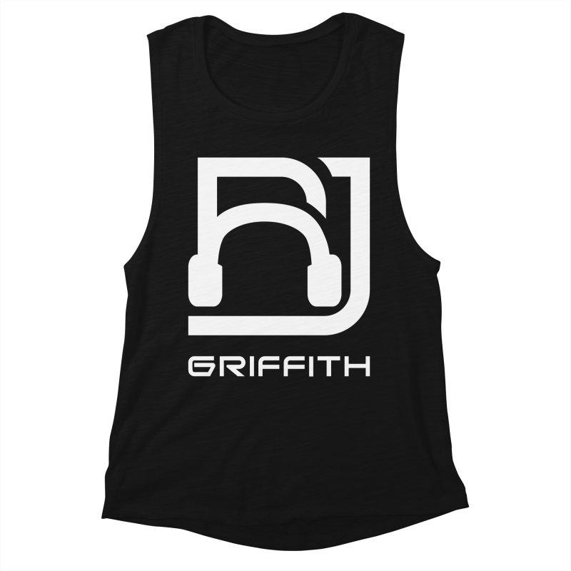 RJ Logo (White) in Women's Muscle Tank Black Slub by RJ Griffith's Merch Store