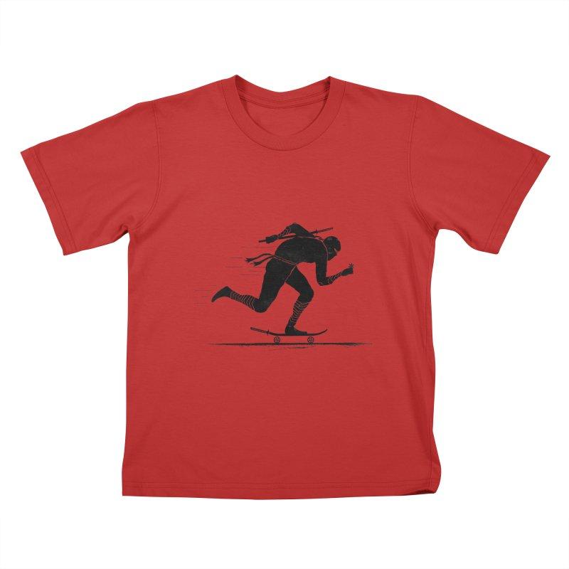 NINJA SKATER Kids T-shirt by RL76