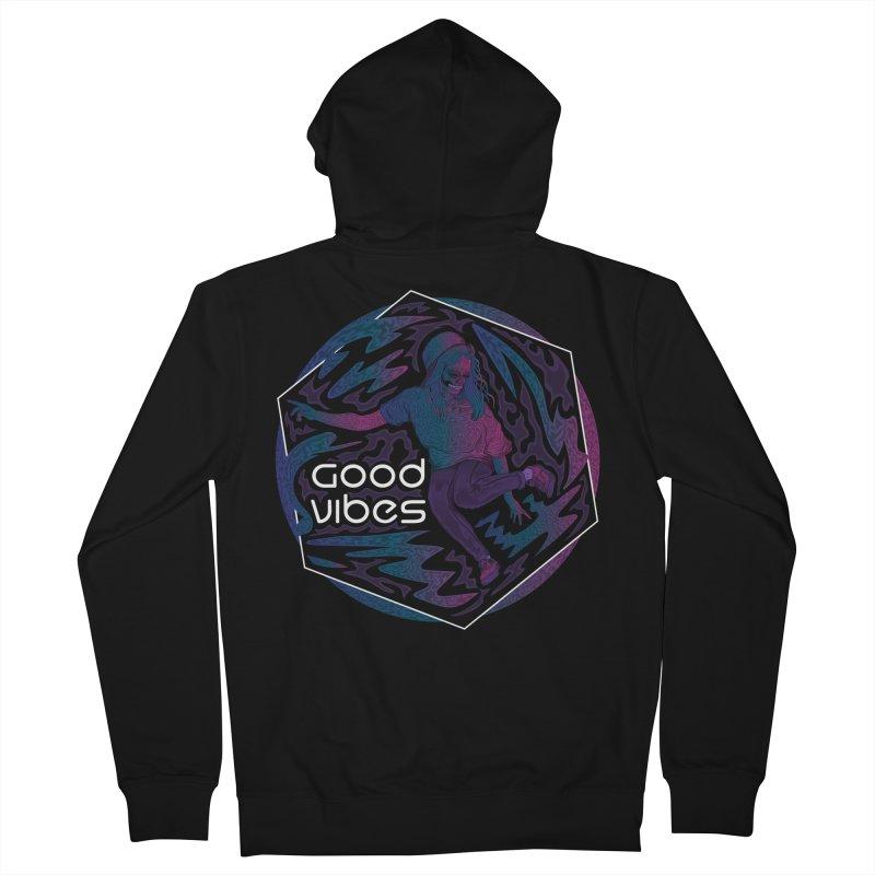 Good Vibes Skelegirl Men's Zip-Up Hoody by R Lopez Designs