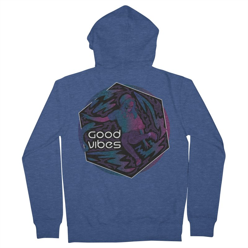 Good Vibes Skelegirl Women's French Terry Zip-Up Hoody by R Lopez Designs