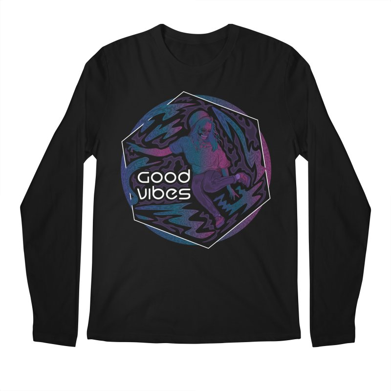 Good Vibes Skelegirl Men's Longsleeve T-Shirt by R Lopez Designs