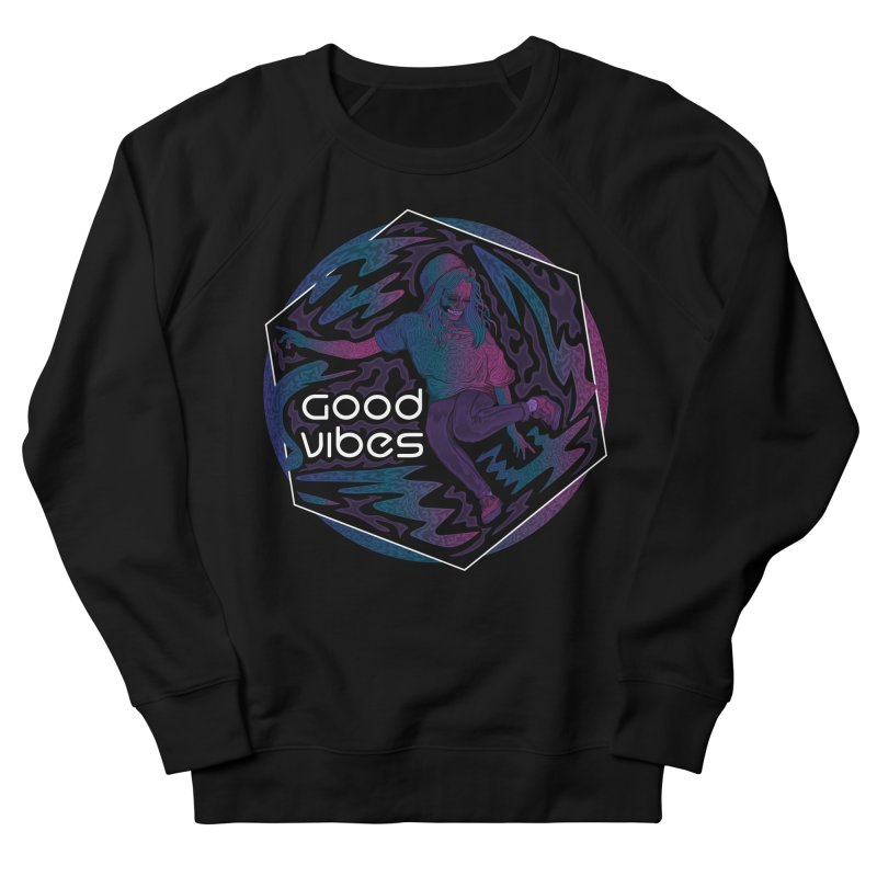 Good Vibes Skelegirl Men's French Terry Sweatshirt by R Lopez Designs