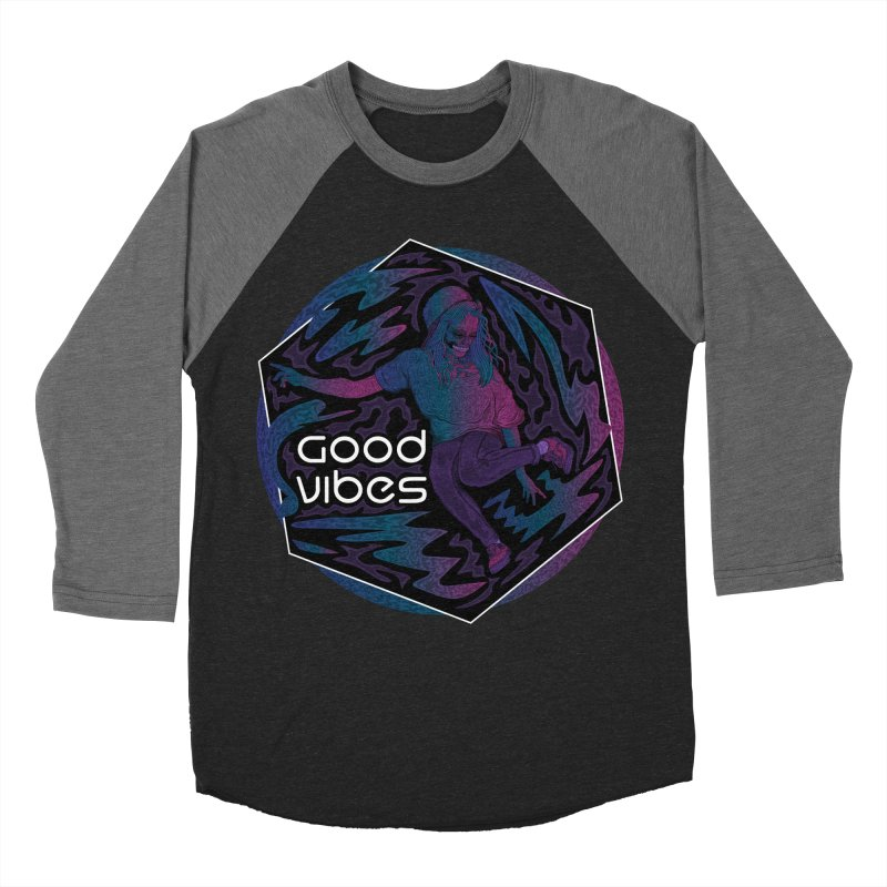 Good Vibes Skelegirl Women's Baseball Triblend T-Shirt by R Lopez Designs