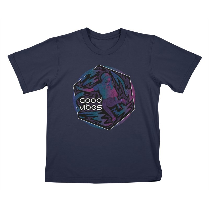 Good Vibes Skelegirl Kids T-Shirt by R Lopez Designs
