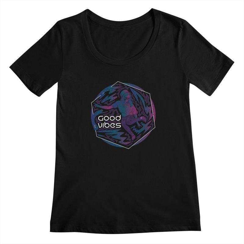 Good Vibes Skelegirl Women's Scoopneck by R Lopez Designs