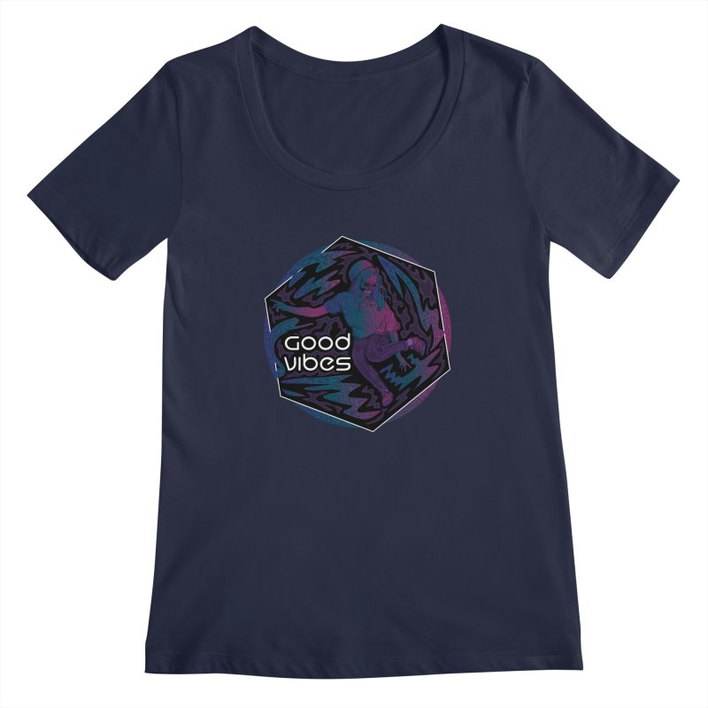 Good Vibes Skelegirl Women's Regular Scoop Neck by R Lopez Designs