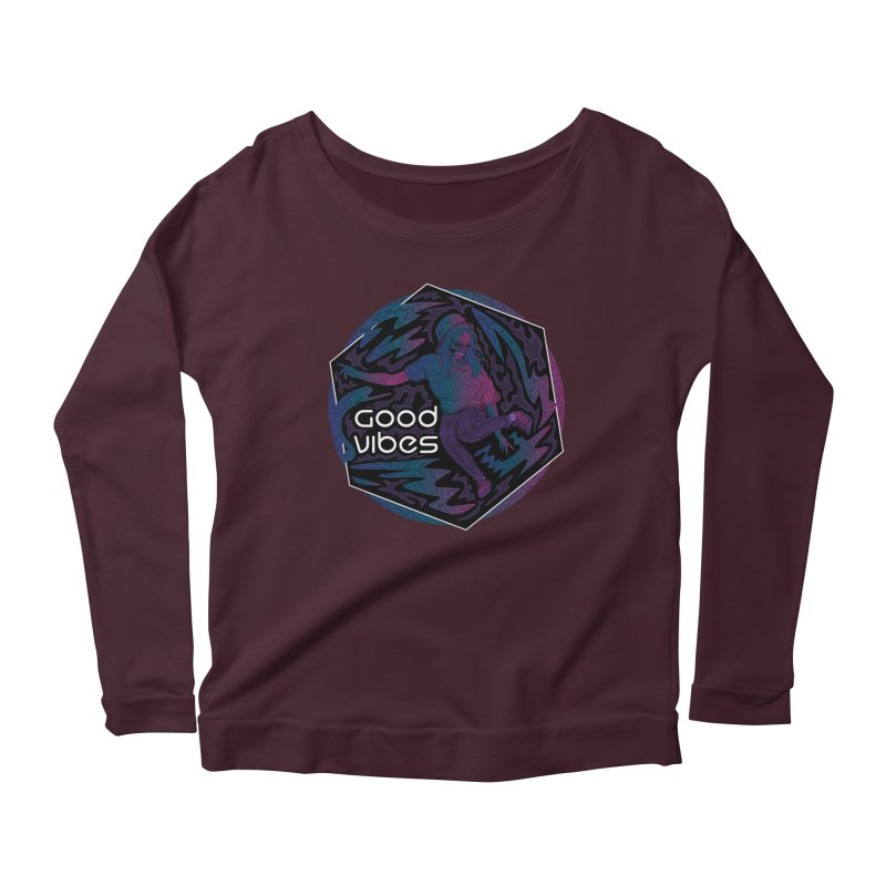 Good Vibes Skelegirl Women's Scoop Neck Longsleeve T-Shirt by R Lopez Designs