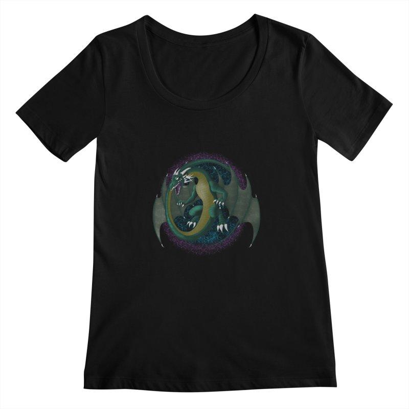 Electric Portal Dragon Women's Scoopnecks by rlopezdesigns