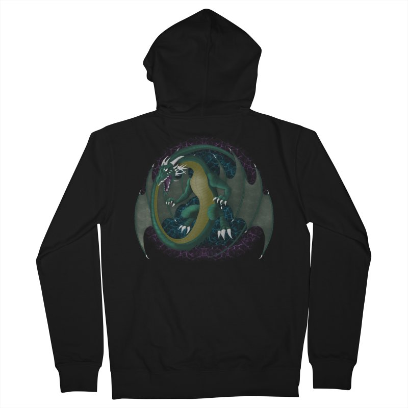 Electric Portal Dragon Men's French Terry Zip-Up Hoody by R Lopez Designs