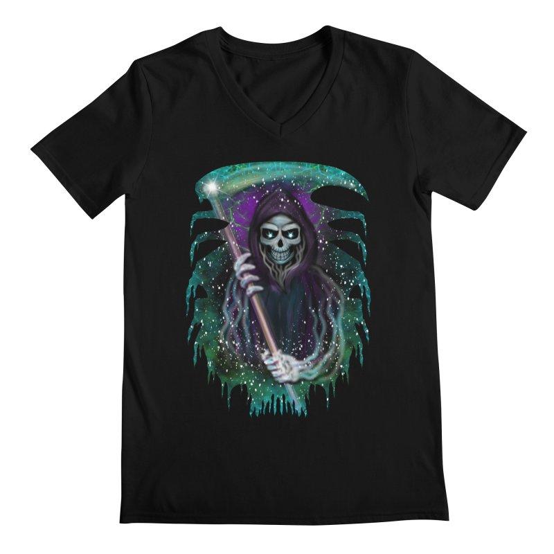 Galaxy Grim Reaper  Men's V-Neck by R Lopez Designs