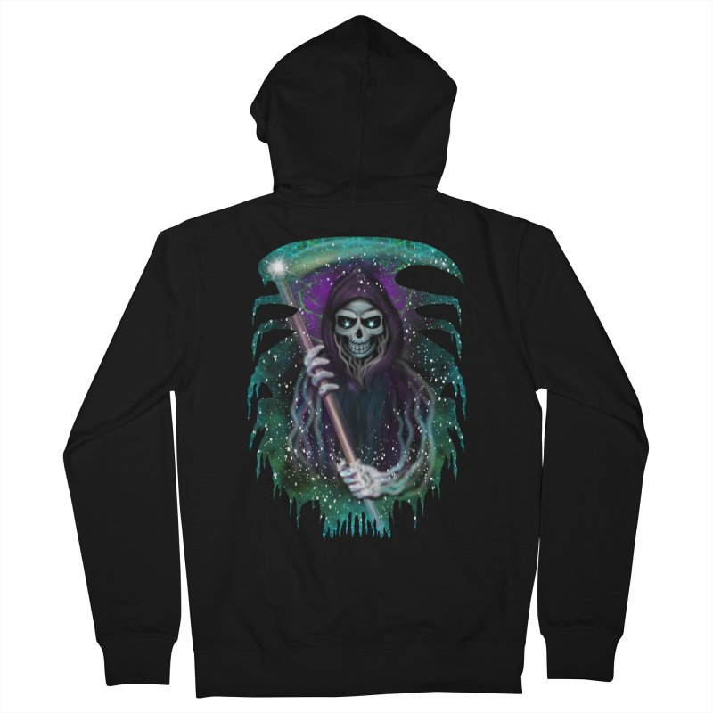 Galaxy Grim Reaper  Men's French Terry Zip-Up Hoody by R Lopez Designs