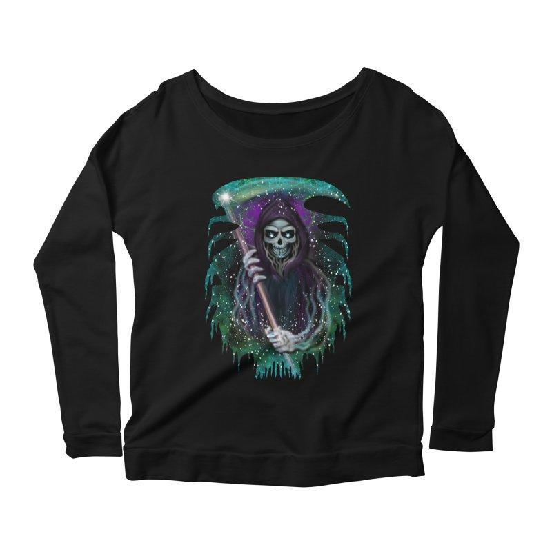 Galaxy Grim Reaper  Women's Scoop Neck Longsleeve T-Shirt by R Lopez Designs