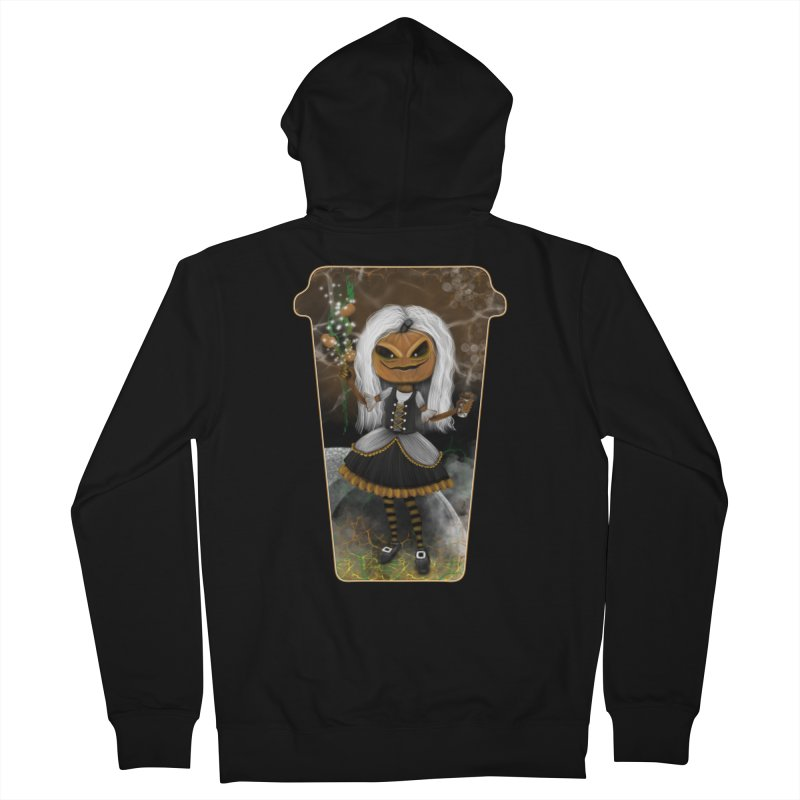 Pumpkin Coffee Maid Men's Zip-Up Hoody by R Lopez Designs