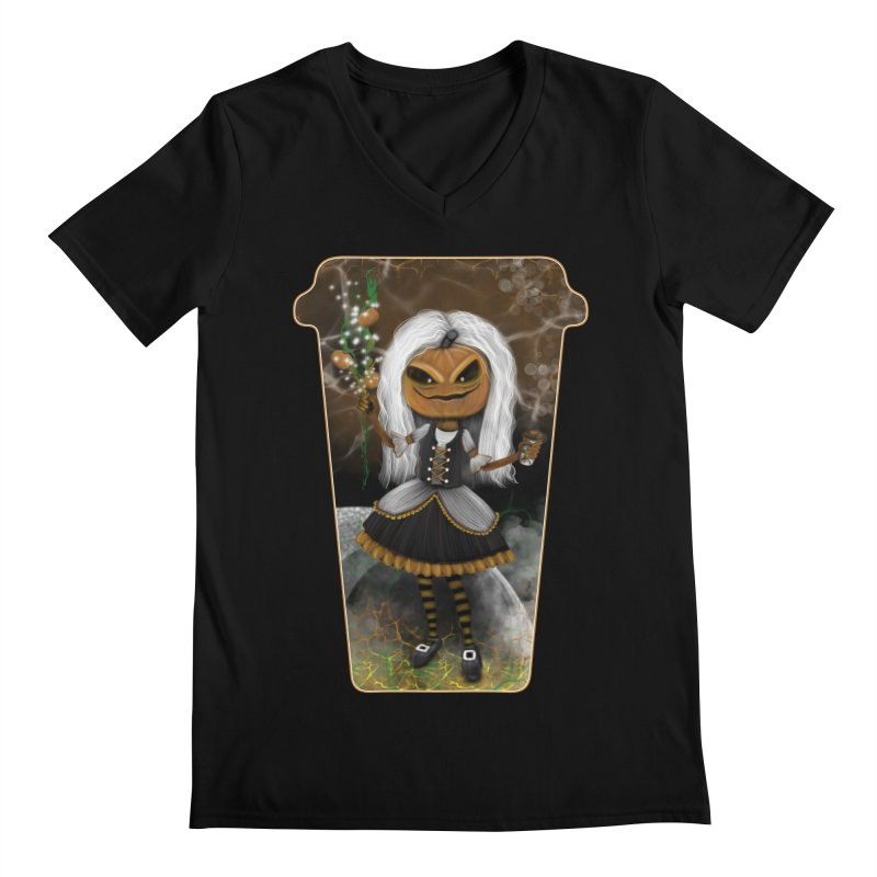 Pumpkin Coffee Maid Men's Regular V-Neck by R Lopez Designs