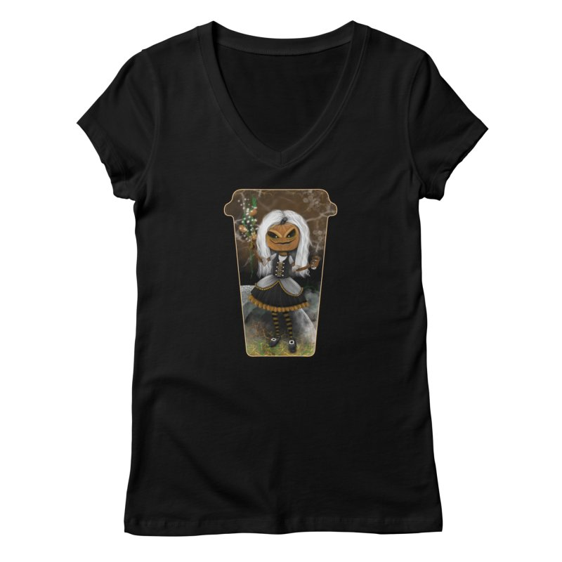 Pumpkin Coffee Maid Women's V-Neck by R Lopez Designs