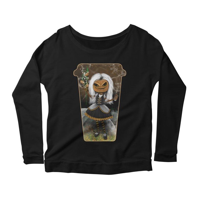 Pumpkin Coffee Maid Women's Scoop Neck Longsleeve T-Shirt by R Lopez Designs
