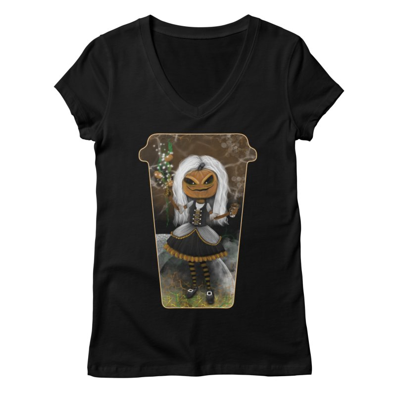 Pumpkin Coffee Maid Women's V-Neck by R Lopez Designs