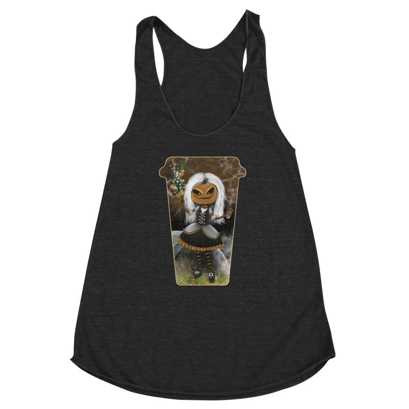 Pumpkin Coffee Maid Women's Racerback Triblend Tank by R Lopez Designs