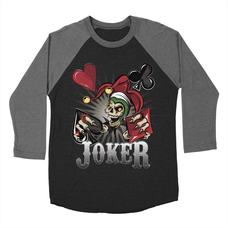 Joker Poker Skull Men's Baseball Triblend Longsleeve T-Shirt by R Lopez Designs