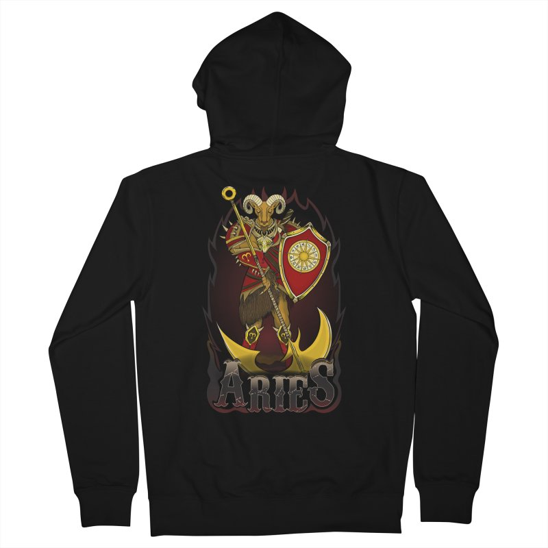 The Ram - Aries Spirit Men's French Terry Zip-Up Hoody by R Lopez Designs