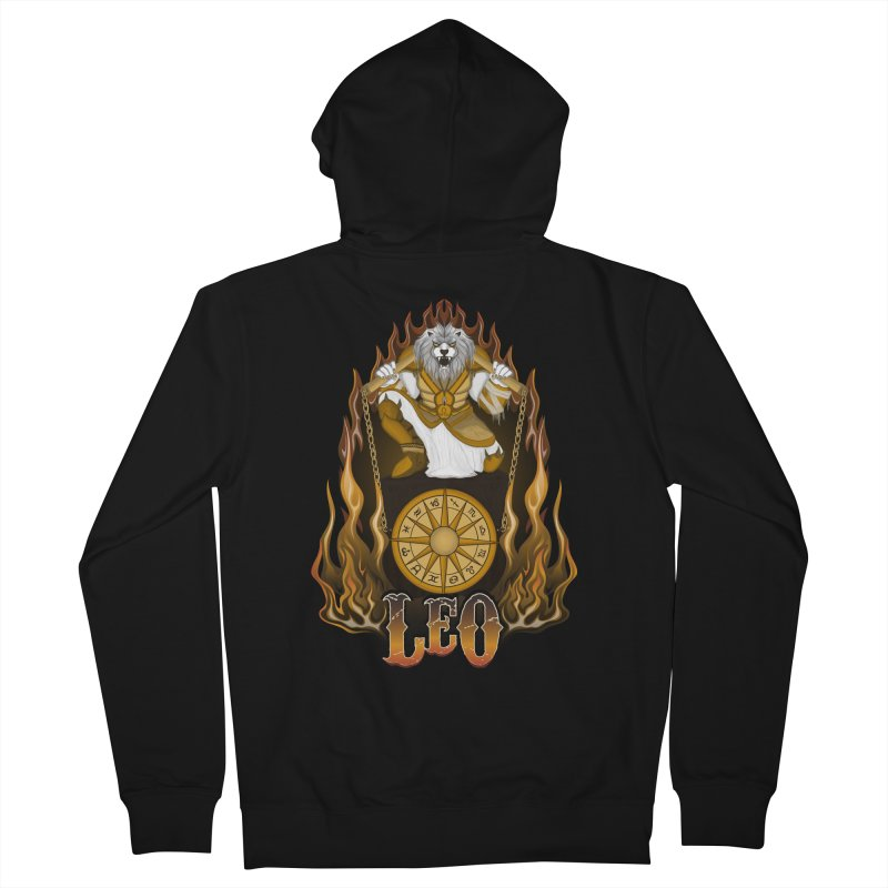 The Lion - Leo Spirit Men's French Terry Zip-Up Hoody by R Lopez Designs