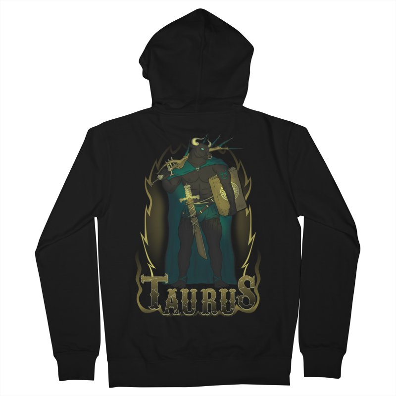 The Bull - Taurus Spirit Women's French Terry Zip-Up Hoody by R Lopez Designs