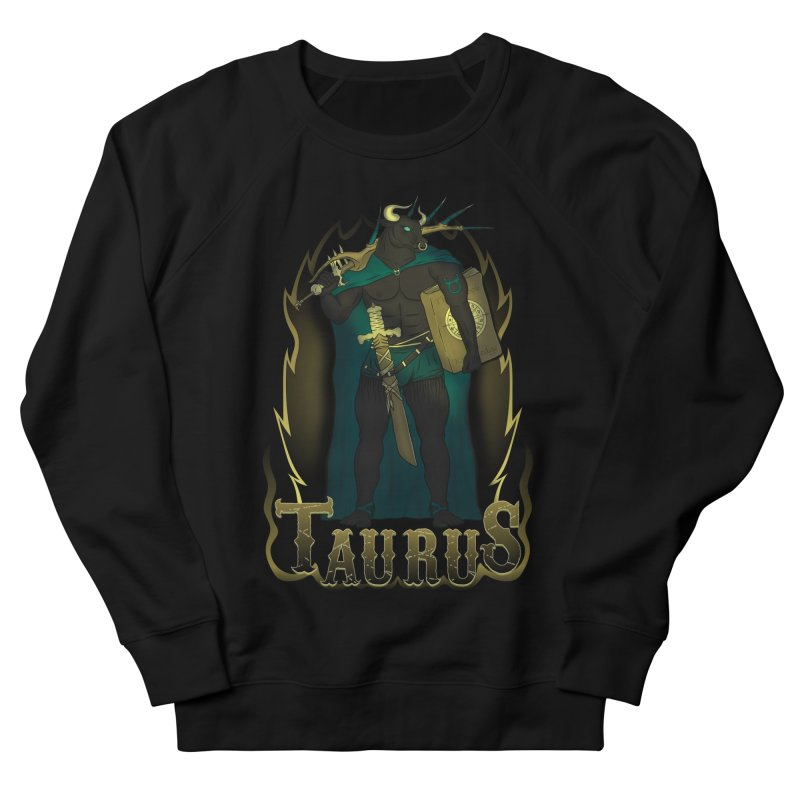 The Bull - Taurus Spirit Men's French Terry Sweatshirt by R Lopez Designs