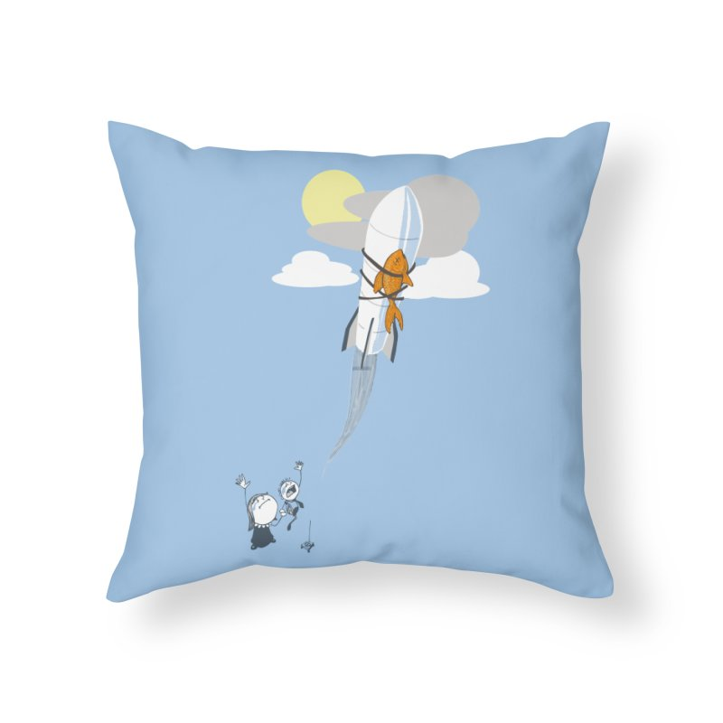 Amelia's Fish Home Throw Pillow by Robbie Lee's Artist Shop