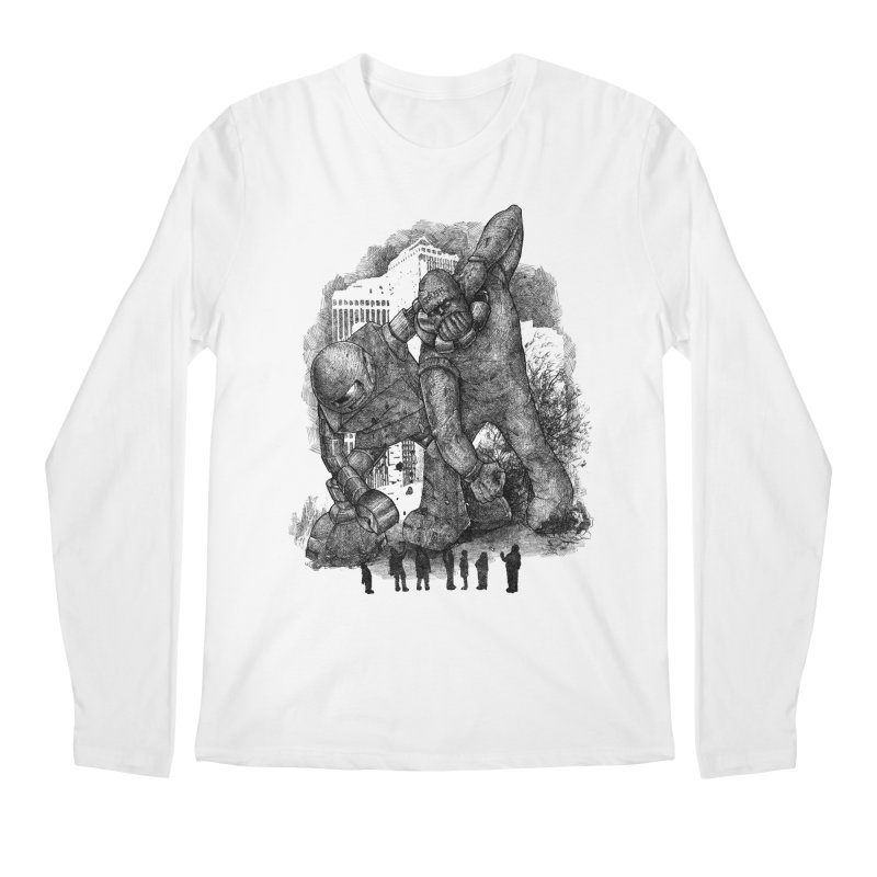 Robot vs. Golem Men's Longsleeve T-Shirt by Robbie Lee's Artist Shop