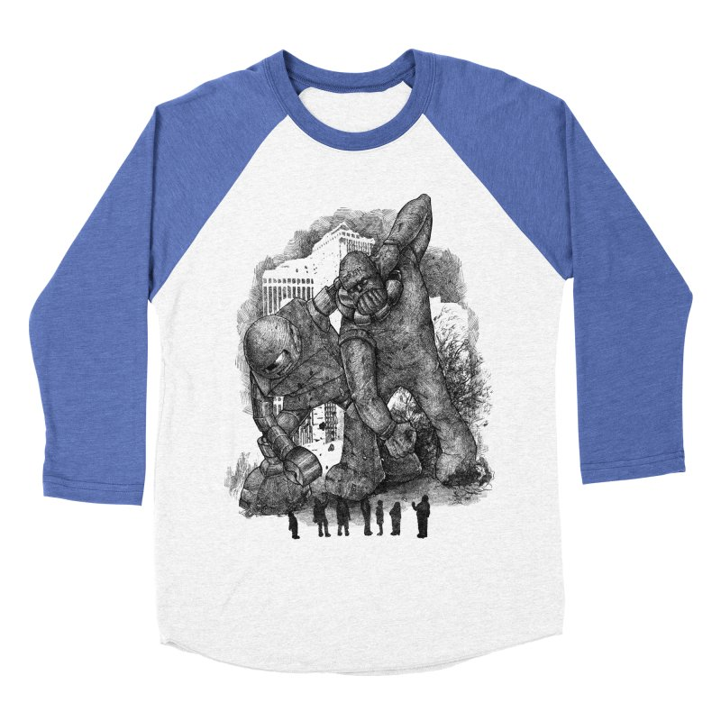 Robot vs. Golem Women's Baseball Triblend T-Shirt by Robbie Lee's Artist Shop