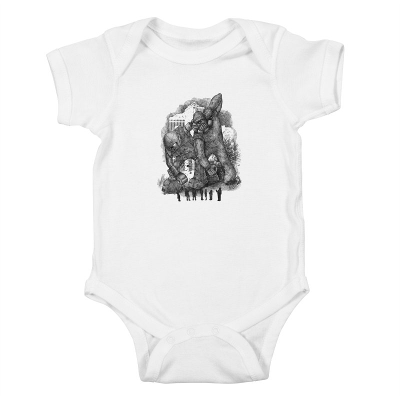 Robot vs. Golem Kids Baby Bodysuit by Robbie Lee's Artist Shop