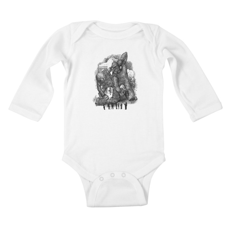 Robot vs. Golem Kids Baby Longsleeve Bodysuit by Robbie Lee's Artist Shop