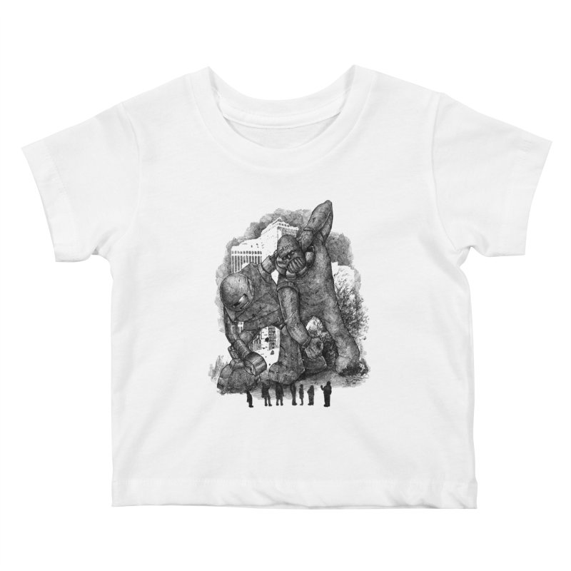 Robot vs. Golem Kids Baby T-Shirt by Robbie Lee's Artist Shop