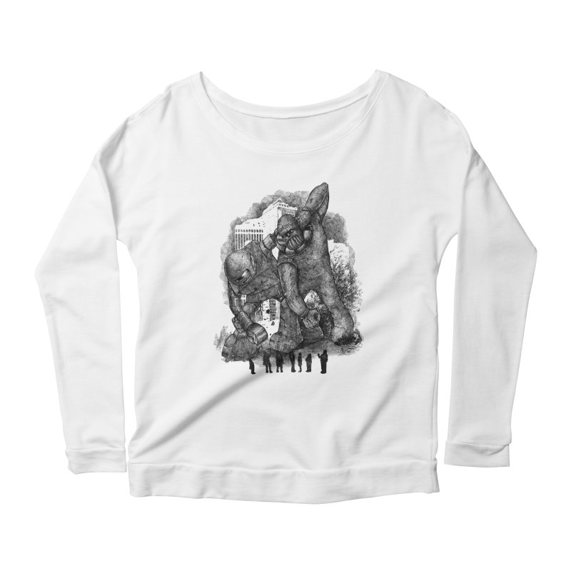 Robot vs. Golem Women's Longsleeve Scoopneck  by Robbie Lee's Artist Shop