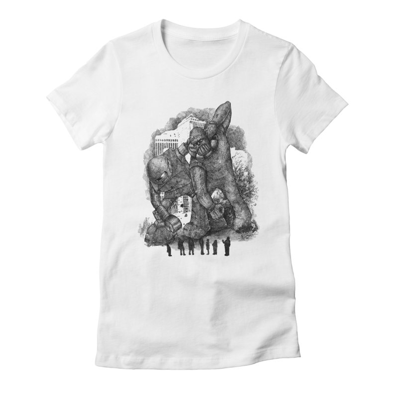 Robot vs. Golem Women's Fitted T-Shirt by Robbie Lee's Artist Shop