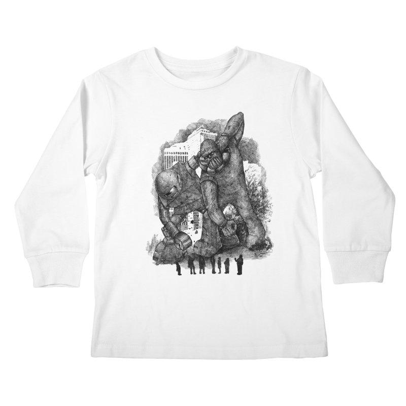 Robot vs. Golem Kids Longsleeve T-Shirt by Robbie Lee's Artist Shop