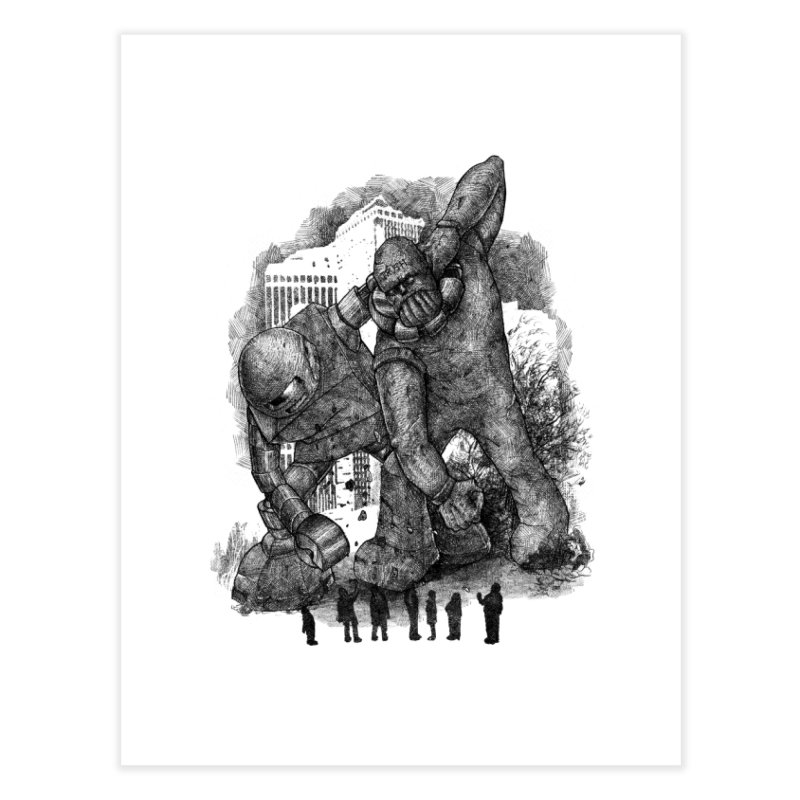 Robot vs. Golem Home Fine Art Print by Robbie Lee's Artist Shop
