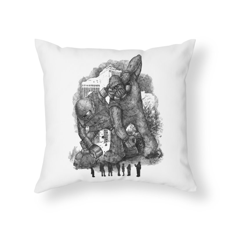 Robot vs. Golem Home Throw Pillow by Robbie Lee's Artist Shop