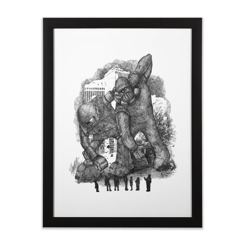 Robot vs. Golem Home Framed Fine Art Print by Robbie Lee's Artist Shop